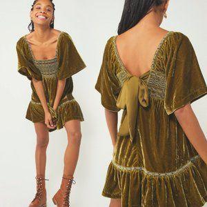 FREE PEOPLE🌺Easy To Love Smocked Velvet  Mini Dress